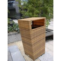 Outdoor Rattan Furniture Trash Bin For Park / Bistro / Riverside