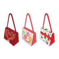 China Decorative Unique Christmas Gift Bags 300 Gsm Herringbone Cotton Handle on sale
