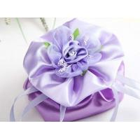 Quality purple satin flower drawstring bag for sale