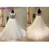 Quality Round Neck A Line Bridal Ball Gowns With Long Lace Sweep Train Tulle Lace Beaded for sale