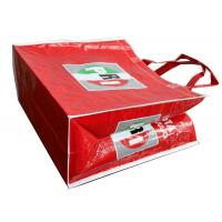 Quality OEM Waterproof PRI Red Woven PP Shopping Bags With White Binding Edge for sale