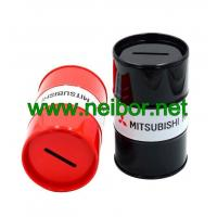 China Oil drum shape tin money box coin bank as promotion gifts on sale