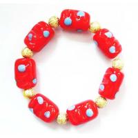 Quality Red Lampwork Glass Beads Bracelet , Zinc Alloy Plated Hand Beaded Jewellery for sale