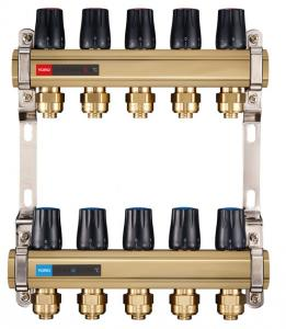 Quality 6123 Brass Water Distribution Manifolds Branches Supply / Return Flowrate Tunable with Realtime Temp. Reader for sale