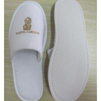 Quality velour hotel slipper with embroidery logo close  toe for sale