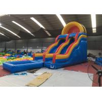 Quality Professional Fireproof Double Water Slide With Splash Pool 3 Years Warrenty for sale
