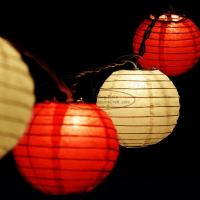 Quality Yellow Led Paper Lantern String Lights 7.5 Cm For Outdoor Trees Decor for sale