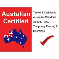A picture shows the Australia national flag and temporary pool safety standard.