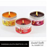 Quality Small Exquisite Wax Scented Tin Candles Round Sticker For Travel And Festival for sale