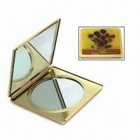 Quality Compact Mirror in Square Aluminum Case Double Sides, with Epoxy Sticker for sale