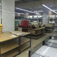 Quality Foldable Wooden Display Rack / Supermarket Display Shelving With Metal Frame for sale