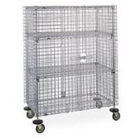 Quality Cold Steel Galvanized Mobile Wire Security Cages Three Shelves For Hotel Transship for sale