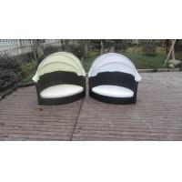 Quality All Weather Garden Black Wicker Pet Bed With KD White Canopy for sale