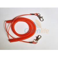 Quality Promotional Spiral Retractable Fishing Lanyard , Red Coiled Security Tethers for sale