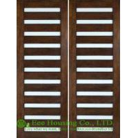 Quality Entrance Solid walnut wooden door, Swing Double Leaf With lacquer finished for sale