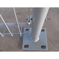 A part of brc fence and round post are in the picture, they are connected buy metal V clamp.