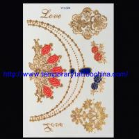 Quality 3D temporary tattoo sticker gold foil tattoo for sale