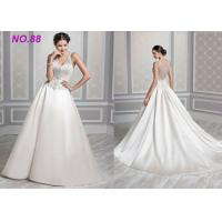 Quality Ivory Organza V Neck Ball Gown Wedding Dress , Formal Ball Gown Prom Dresses for sale