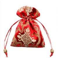 Quality red satin drawstring bag with embroidery for sale