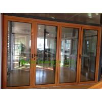 Quality Aluminum Folding glass Door For Balcony,durable aluminum bi-folding door with wood color for sale