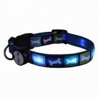 China LED Dog Collar with Push Button and Fully Adjustable, Easy to Use on sale