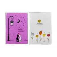China Picture Custom Daily Journal  Frosted Plastic Book Cover Sparkling Purple Glitter on sale