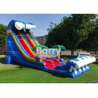 Quality Giant Inflatable Water Slides For Adult , Commercial 24′ Shark Sighted Dual Lane Slide , for sale