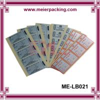 Quality Glossy PET labels printing adhesive stickers for warranty on products in sheet packaging for sale