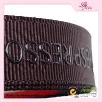 "Quality 5 / 8"" Custom printed grosgrain ribbon Brown color With Company Logo for sale"