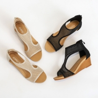 Quality BS033 Sandals Women'S Shoes 2020 Summer New All-Match Comfortable Casual Mesh Women'S Shoes Thick-Soled Wedges With Larg for sale