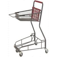 Quality Gray Metal 2 - Tier Supermarket Basket Shopping Trolley Anti - Collision With 4 PU wheels for sale
