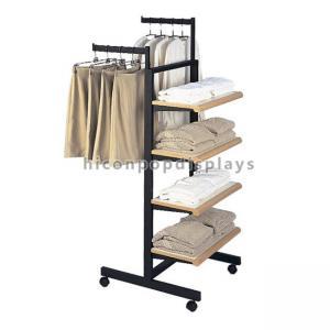 China Custom Design Metal Wood Garment T - Shirt Clothing Display Racks Flooring on sale