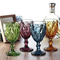 Quality Wine Cup Dinner Sets Solid Glass Products Drinking For Juice Amber Purple for sale