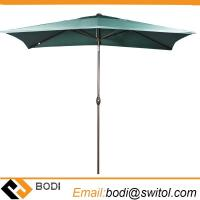 Quality Rectangular Market Outdoor Table Patio Umbrella with Push Button Tilt and Crank Dark Green for sale