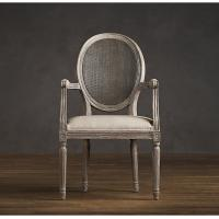 Buy cheap Fully upholstered Linen Fabric Dining Chair with Round Cane Back Arm for hotel from Wholesalers