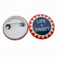 Quality Tin Button Badge in Pantone Color, Customized Sizes and Shapes are Accepted for sale