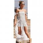 Quality 207609 Western Ladies Women Stripe Irregular Off Shoulder Summer Latest Fashion Dresses for sale