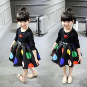 2016 Fashion Girl Colorful Kid's Black Dress long sleeve Bubble Style Dancing Dress