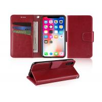 Buy Wine Red 5.85 Inches Apple iphone Leather Case With Credit Card Pockets at wholesale prices