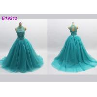 Quality Classical Noble Blue Prom Dresses , Long Tulle Attractive Backless Evening Gowns for sale