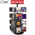 Quality CD Merchandising Metal Display Racks 32 Pockets Book Retail Rotating Display Rack for sale