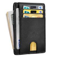Quality Slim Minimalist Front Pocket RFID Blocking Leather Wallets for Men Women for sale