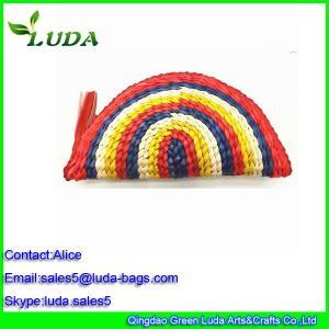 Quality Sweet lady rainbow corn husk straw handbag LDYP-A064 for sale