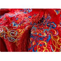 China High End Embroidered Fabrics , Red Chinese Wedding Dress Fabric on sale