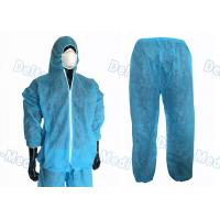 Quality Waterproof Split Type Disposable Protective Coveralls Suit PP / SMS With Zip for sale
