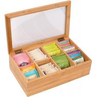 Quality 8 Compartments Bamboo Storage Box Tea Bag Chest Natural Color No Petrochemicals for sale