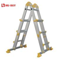 Quality Portable  Aluminium Step Ladder PP Feet 4x3 Collapsible Extension Ladder for sale
