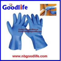 China Red color/ 100% cotton inerlock lined/ oil and chemical resistant PVC Glove on sale
