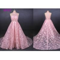 Quality Pink Halter Backless Sleeveless Lace Wedding Dress Removable Tail Bridal Gown for sale