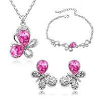 Quality Crystal Butterfly wedding jewelry sets 6 colors gold plated jewelry set TJ0124 for sale